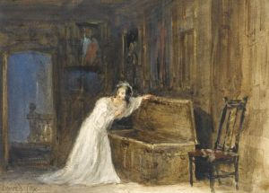 A painting showing the unfortunate mistletoe bride hiding in that trunk - by David Cox