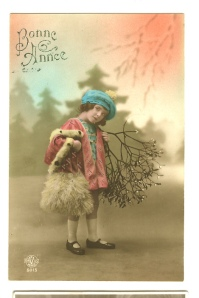 Another mistletoe-themed French New Years card