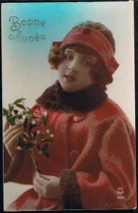 A typical mistletoe-themed French New Year card