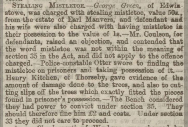 Sheffield Daily Telegraph 14 Jan1875 Theft Worksop