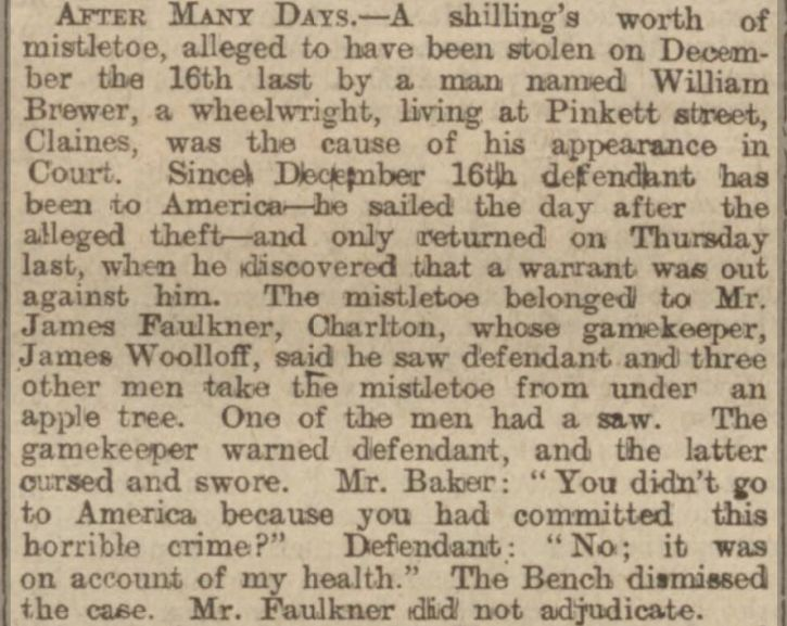 Worcestershire Chronicle Saturday 12 July 1902 theft