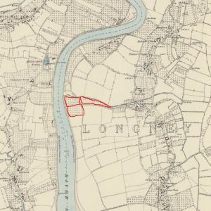 An 1884 map of the Longney are, showing the number of orchards along the river bank. The GOT land is again roughly outlined in red.